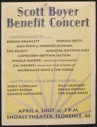 Scott Boyer benefit concert handbill, Florence, AL, April 4, 2007